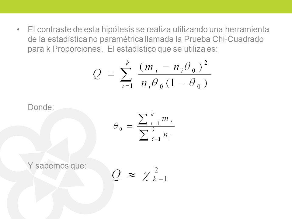 El contraste de esta hipótesis se realiza utilizando una herramienta de la estadística no paramétrica llamada la Prueba Chi-Cuadrado para k Proporciones. El estadístico que se utiliza es: