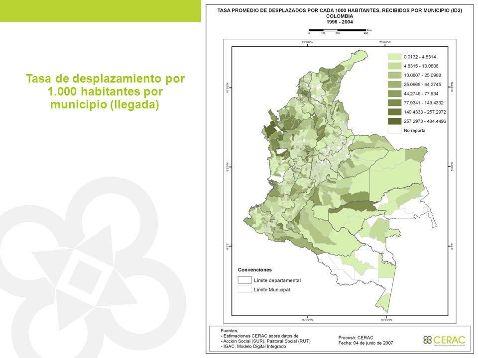 Tasa de desplazamiento por 1.000 habitantes por municipio (llegada)