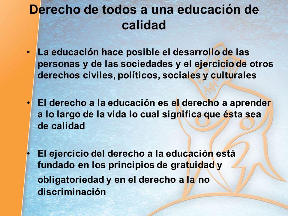 Derecho de todos a una educación de calidad