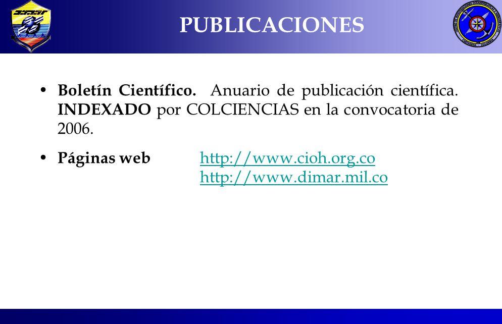 PUBLICACIONES Boletín Científico. Anuario de publicación científica. INDEXADO por COLCIENCIAS en la convocatoria de 2006.