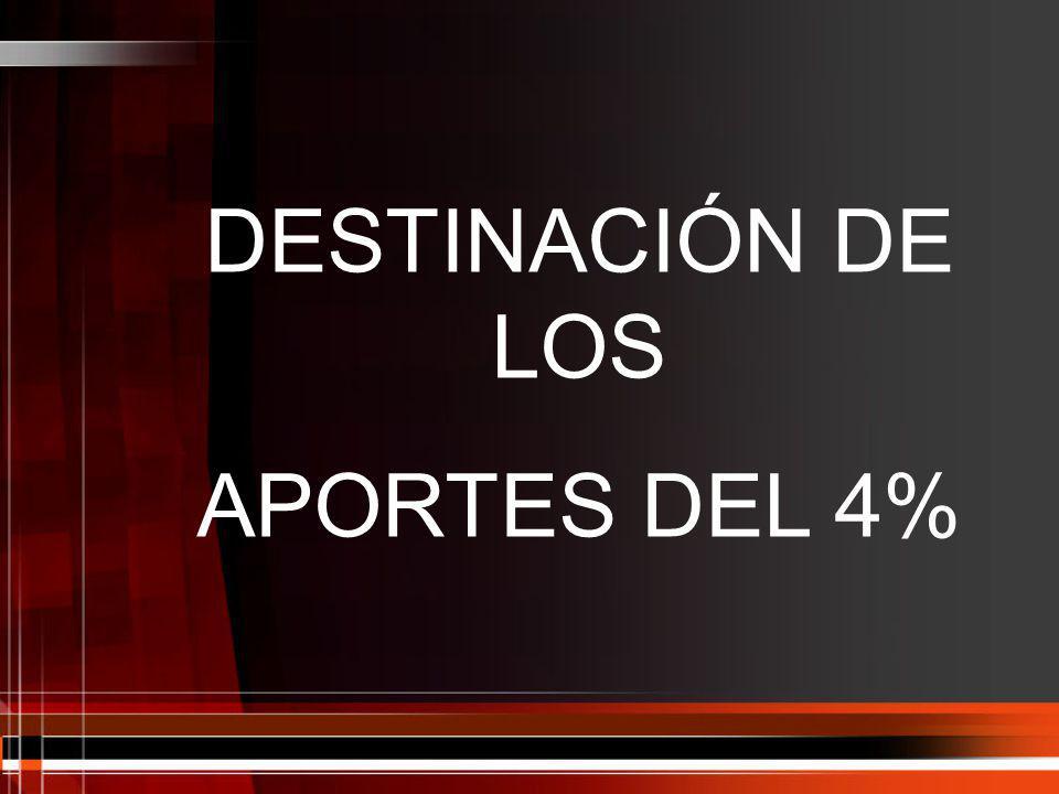 DESTINACIÓN DE LOS APORTES DEL 4%