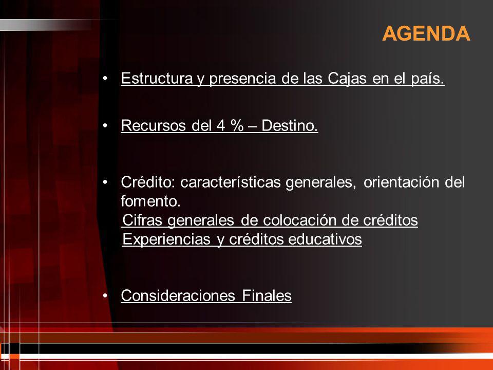 AGENDA Estructura y presencia de las Cajas en el país.