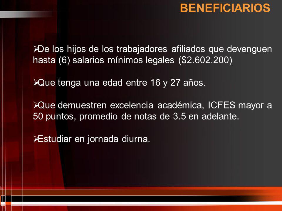 BENEFICIARIOS De los hijos de los trabajadores afiliados que devenguen hasta (6) salarios mínimos legales ($2.602.200)