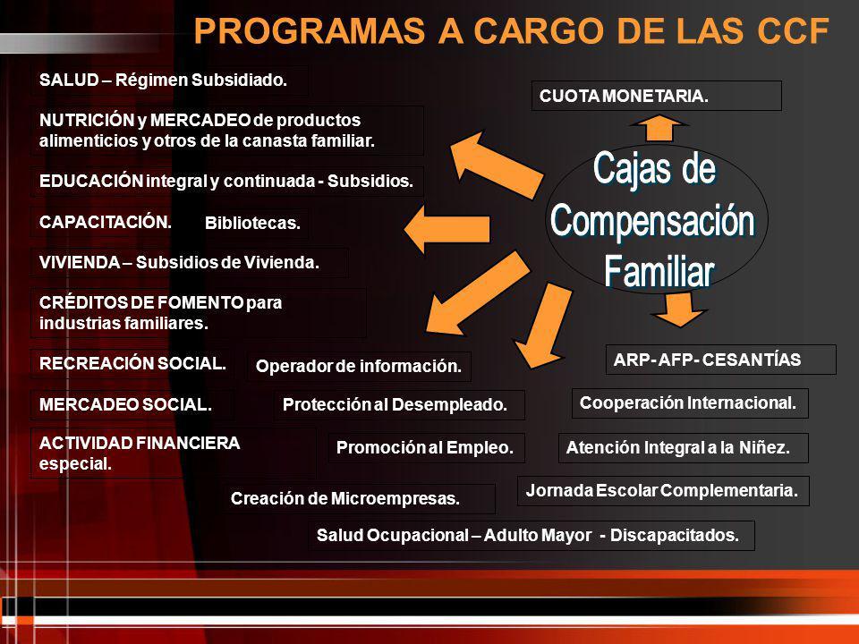 PROGRAMAS A CARGO DE LAS CCF
