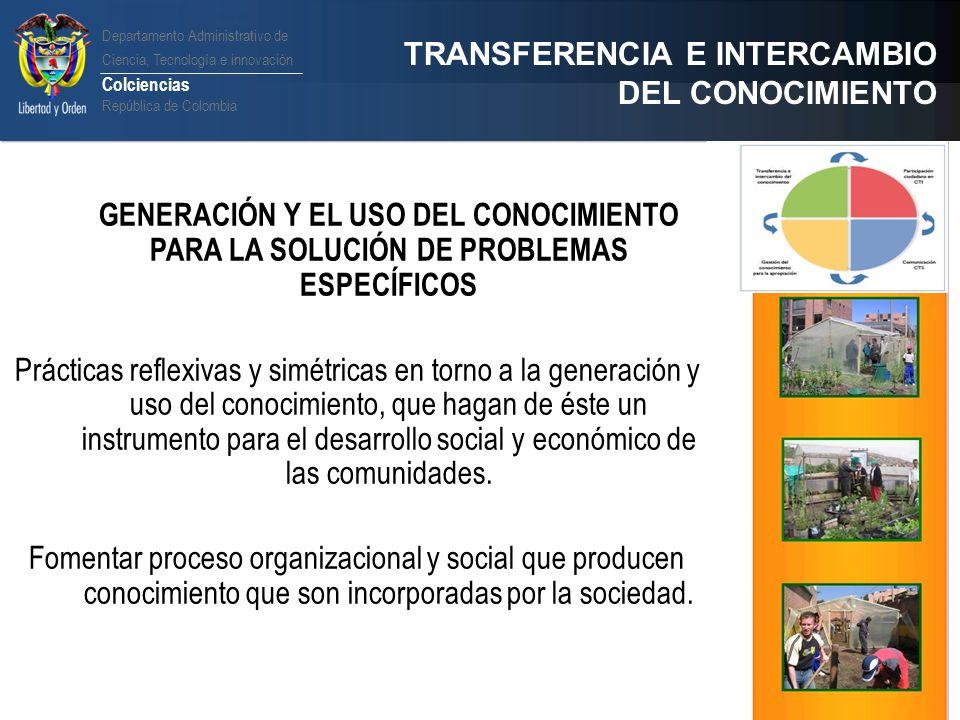 TRANSFERENCIA E INTERCAMBIO DEL CONOCIMIENTO