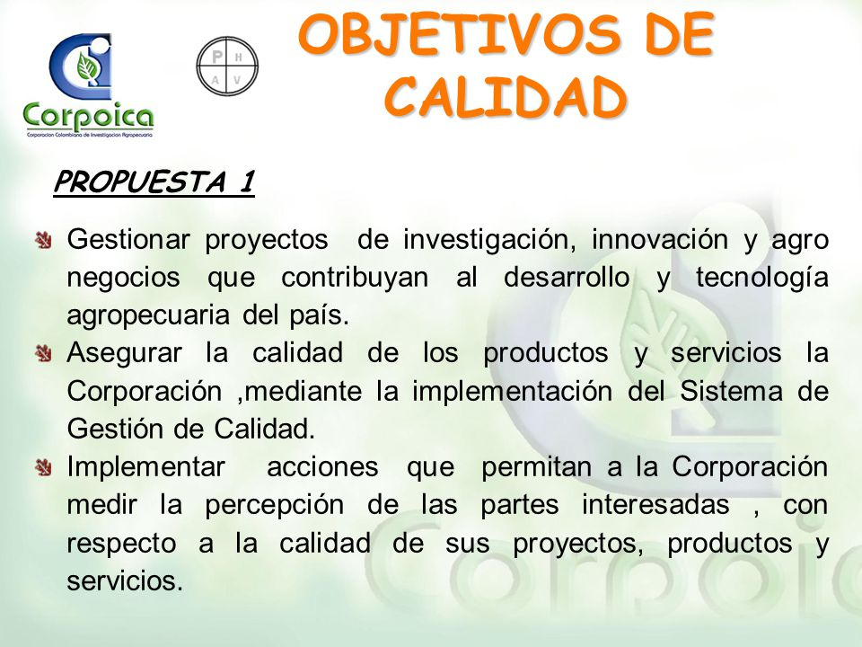OBJETIVOS DE CALIDAD PROPUESTA 1