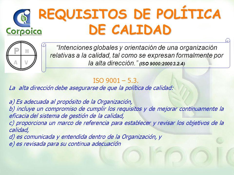 REQUISITOS DE POLÍTICA DE CALIDAD