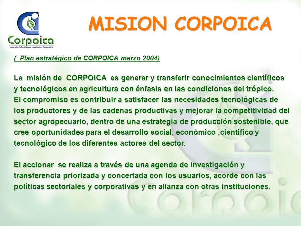 MISION CORPOICA ( Plan estratégico de CORPOICA marzo 2004)