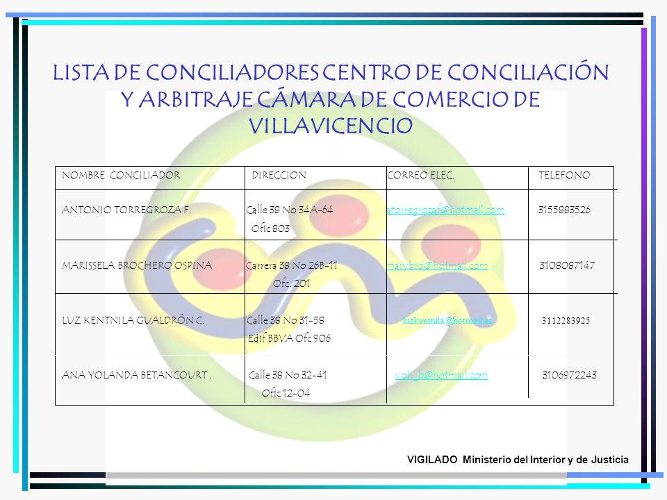 LISTA DE CONCILIADORES CENTRO DE CONCILIACIÓN Y ARBITRAJE CÁMARA DE COMERCIO DE VILLAVICENCIO