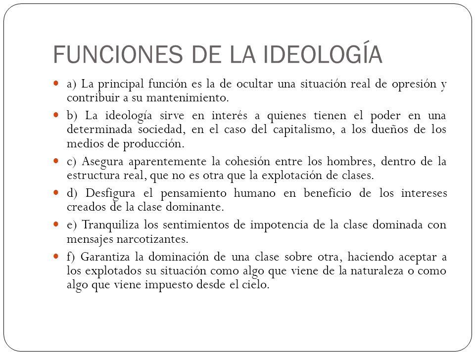 FUNCIONES DE LA IDEOLOGÍA