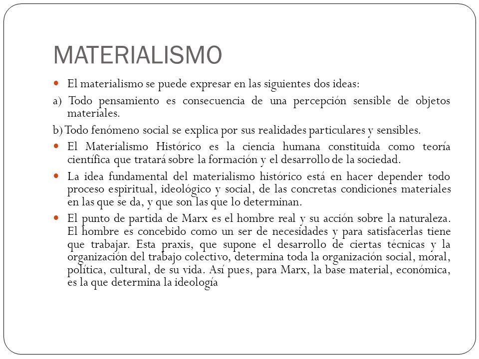 MATERIALISMO El materialismo se puede expresar en las siguientes dos ideas: