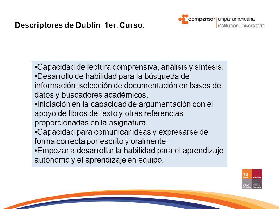 Descriptores de Dublín 1er. Curso.