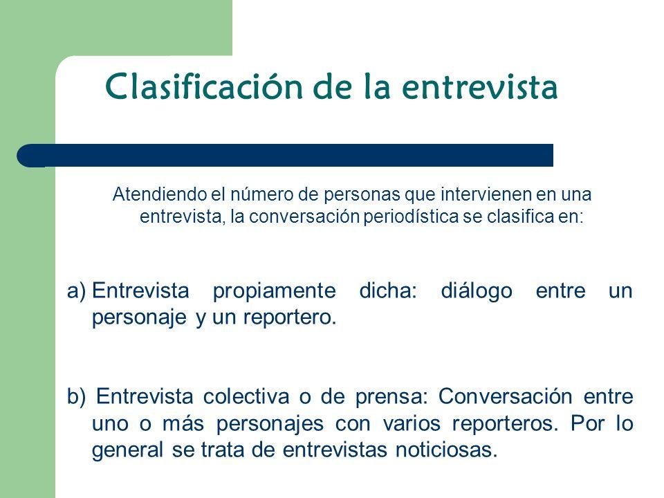 Clasificación de la entrevista