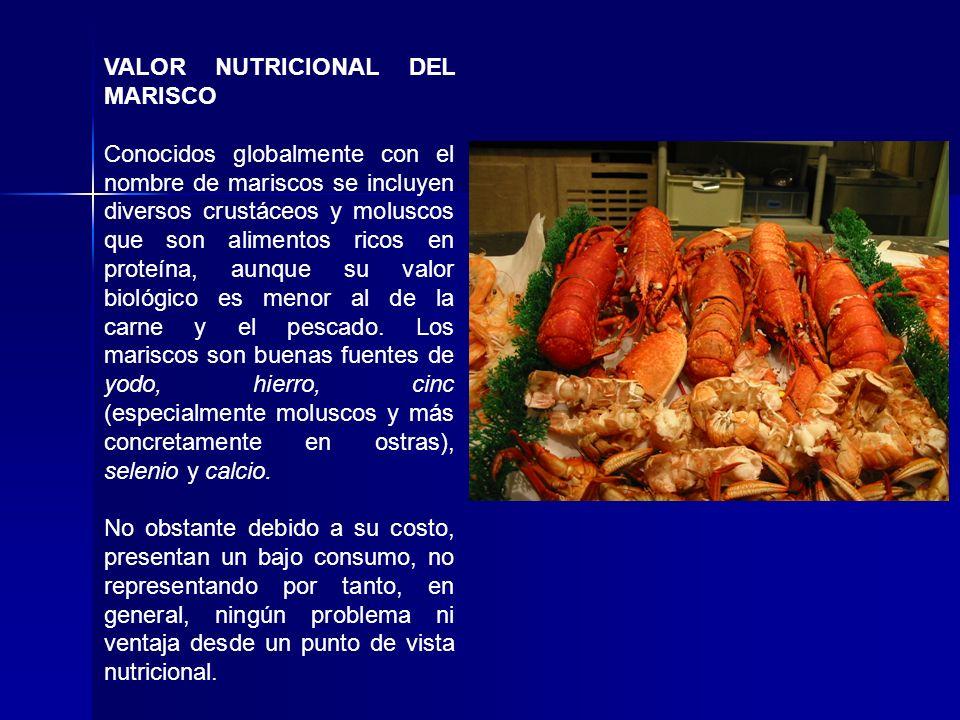 VALOR NUTRICIONAL DEL MARISCO