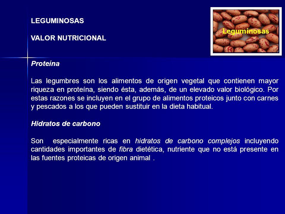 LEGUMINOSAS VALOR NUTRICIONAL. Proteína.