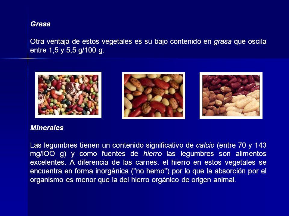 Grasa Otra ventaja de estos vegetales es su bajo contenido en grasa que oscila entre 1,5 y 5,5 g/100 g.