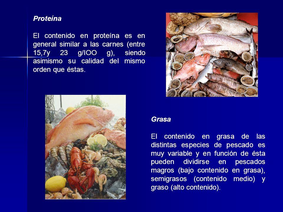 Proteína El contenido en proteína es en general similar a las carnes (entre 15,7y 23 g/IOO g), siendo asimismo su calidad del mismo orden que éstas.