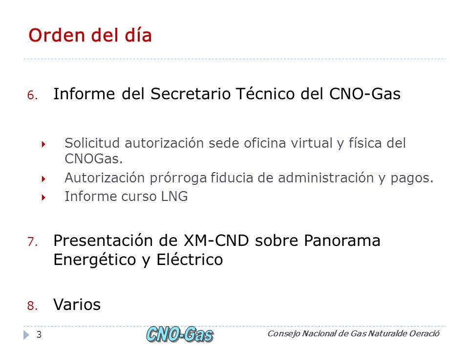 Orden del día Informe del Secretario Técnico del CNO-Gas