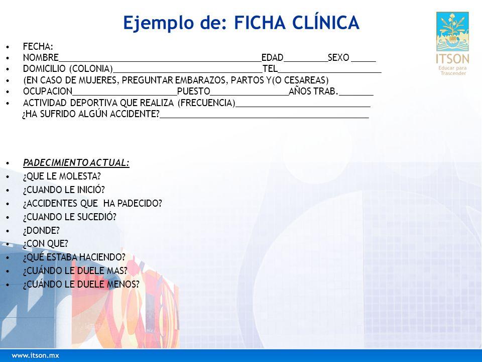 Ejemplo de: FICHA CLÍNICA