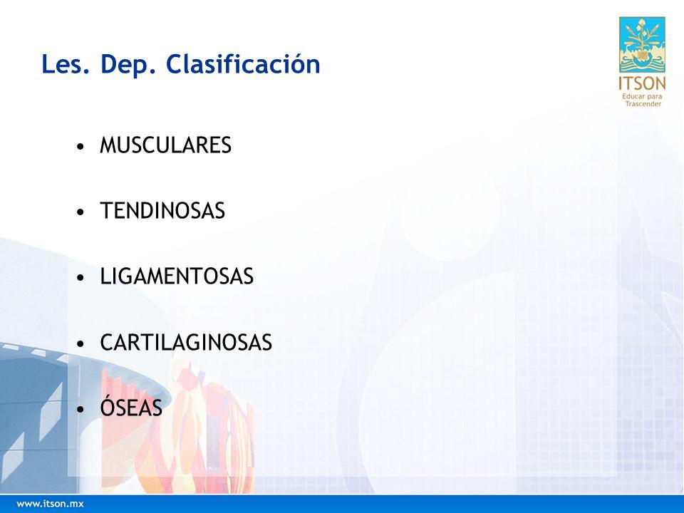 Les. Dep. Clasificación MUSCULARES TENDINOSAS LIGAMENTOSAS