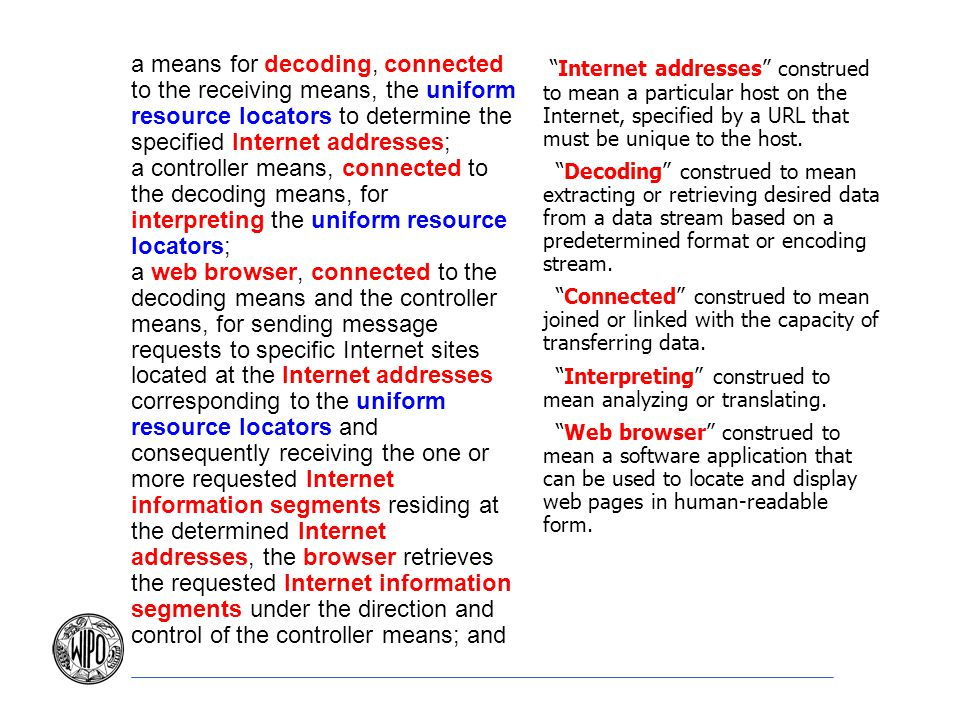 a means for decoding, connected to the receiving means, the uniform resource locators to determine the specified Internet addresses;