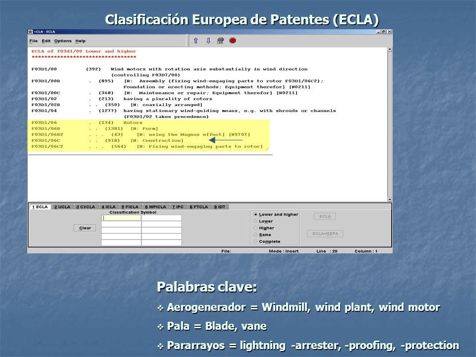 Clasificación Europea de Patentes (ECLA)