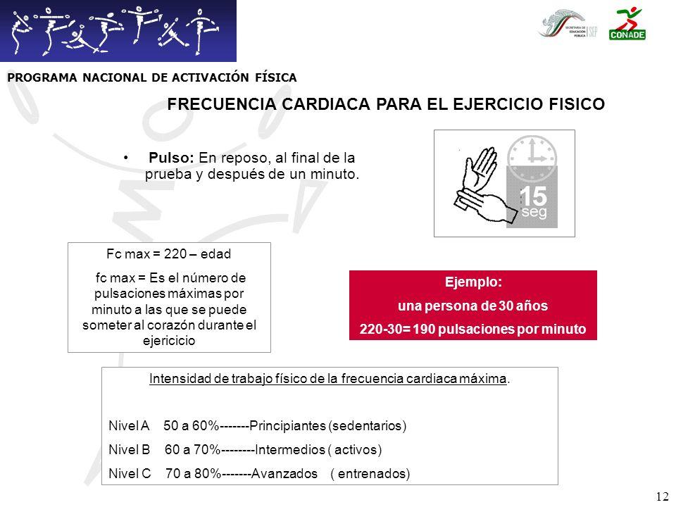 FRECUENCIA CARDIACA PARA EL EJERCICIO FISICO
