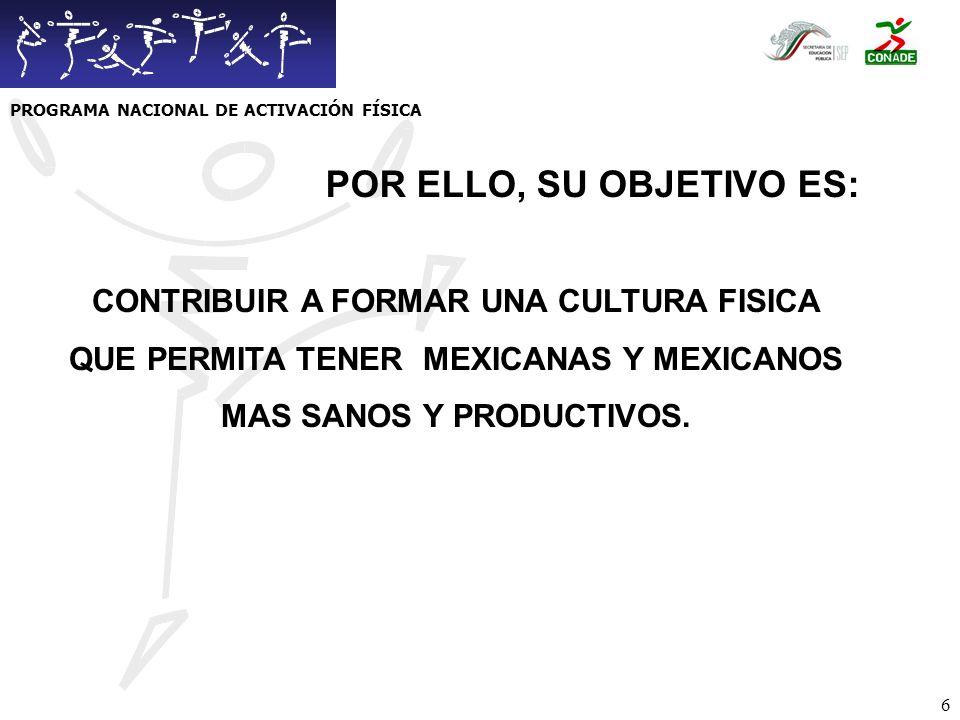 PROGRAMA NACIONAL DE ACTIVACIÓN FÍSICA POR ELLO, SU OBJETIVO ES: