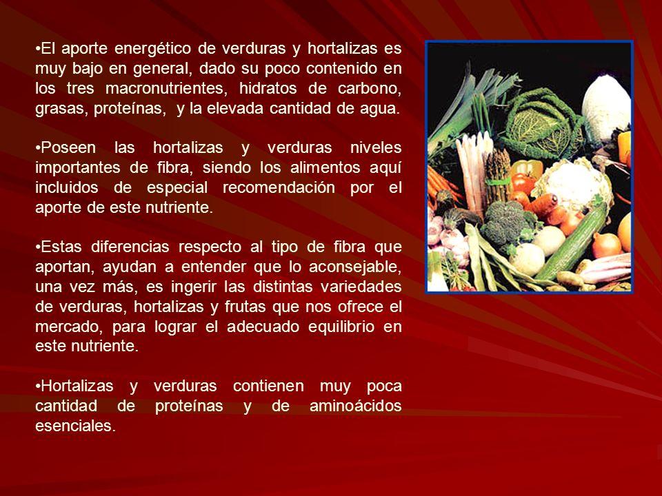 El aporte energético de verduras y hortalizas es muy bajo en general, dado su poco contenido en los tres macronutrientes, hidratos de carbono, grasas, proteínas, y la elevada cantidad de agua.