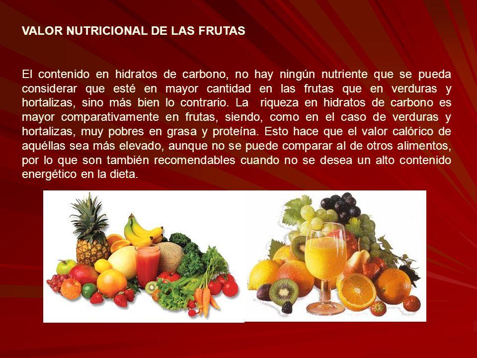 VALOR NUTRICIONAL DE LAS FRUTAS