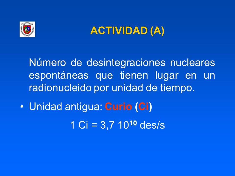 ACTIVIDAD (A) Número de desintegraciones nucleares espontáneas que tienen lugar en un radionucleido por unidad de tiempo.