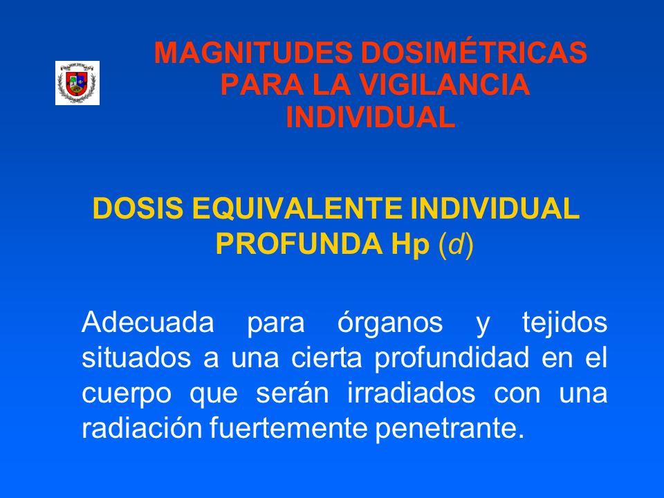 MAGNITUDES DOSIMÉTRICAS PARA LA VIGILANCIA INDIVIDUAL