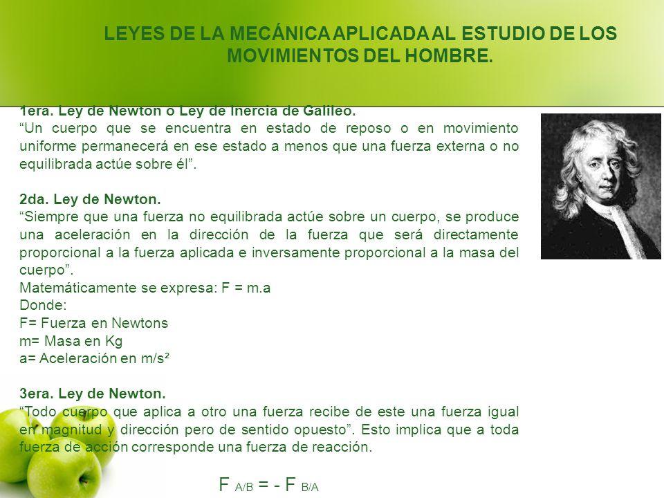 LEYES DE LA MECÁNICA APLICADA AL ESTUDIO DE LOS MOVIMIENTOS DEL HOMBRE.