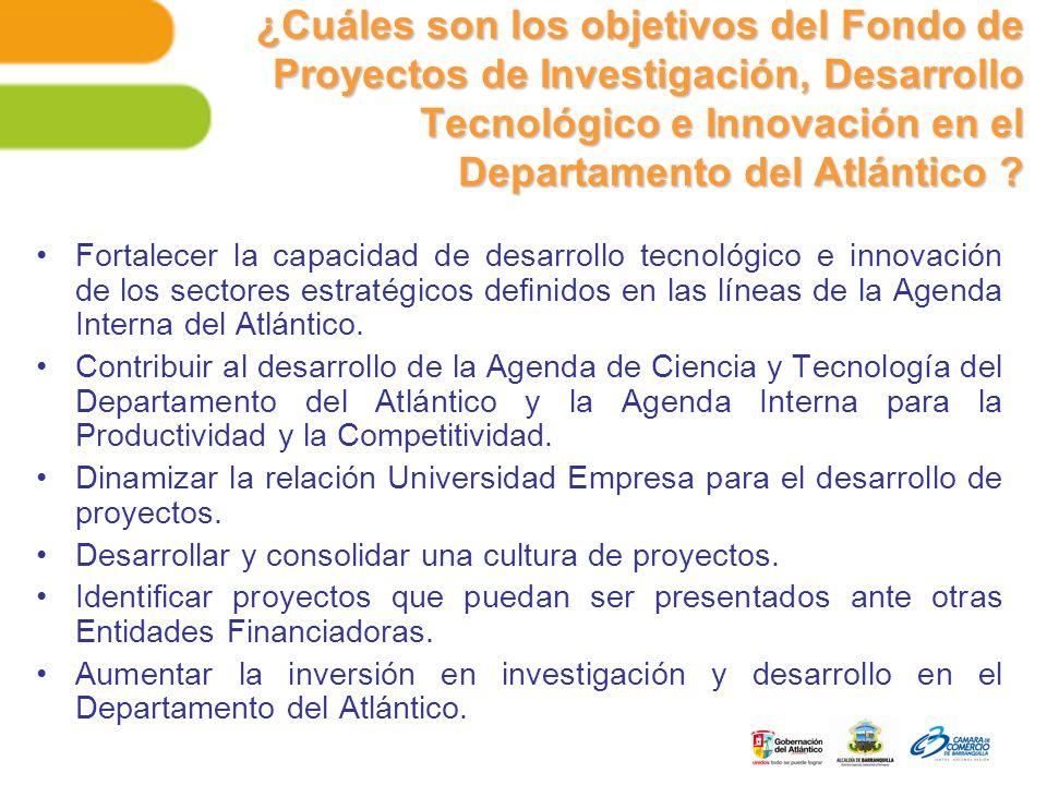 ¿Cuáles son los objetivos del Fondo de Proyectos de Investigación, Desarrollo Tecnológico e Innovación en el Departamento del Atlántico