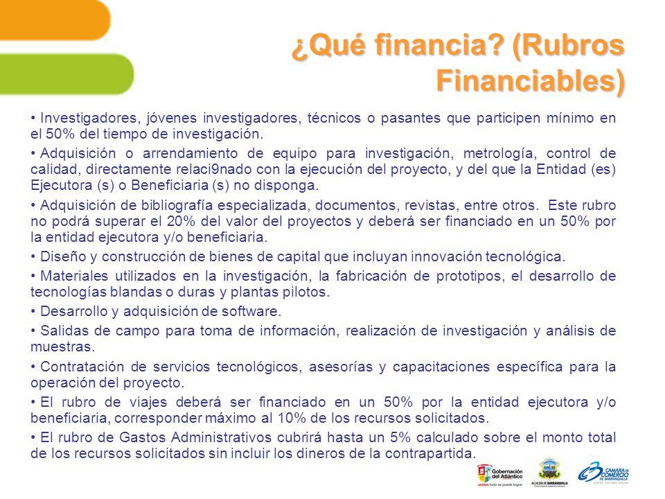 ¿Qué financia (Rubros Financiables)