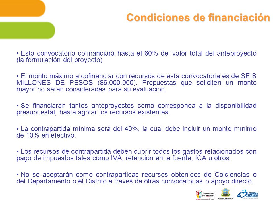 Condiciones de financiación