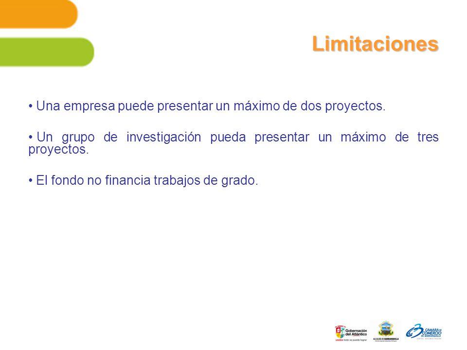 Limitaciones Una empresa puede presentar un máximo de dos proyectos.