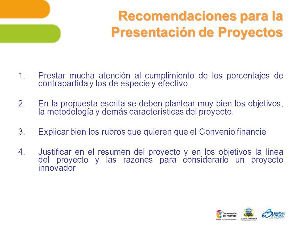 Recomendaciones para la Presentación de Proyectos