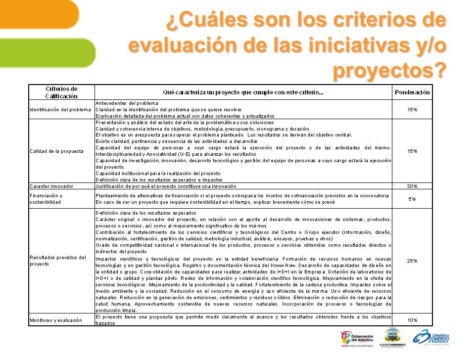 ¿Cuáles son los criterios de evaluación de las iniciativas y/o proyectos