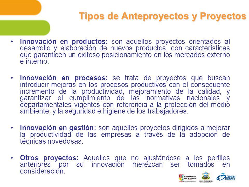 Tipos de Anteproyectos y Proyectos