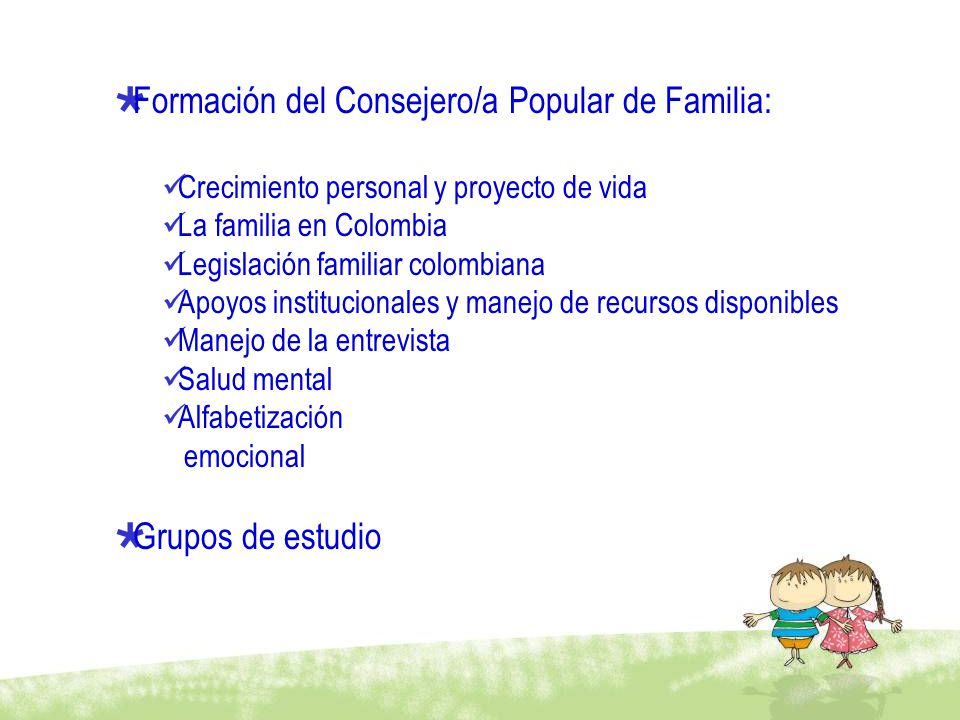Formación del Consejero/a Popular de Familia: