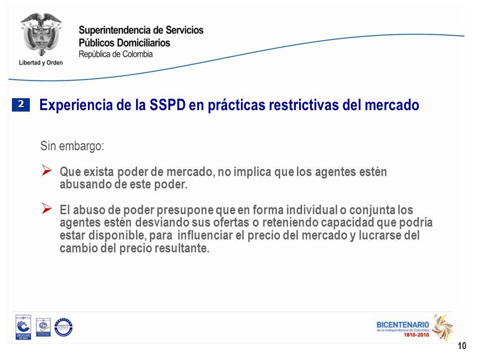 Experiencia de la SSPD en prácticas restrictivas del mercado