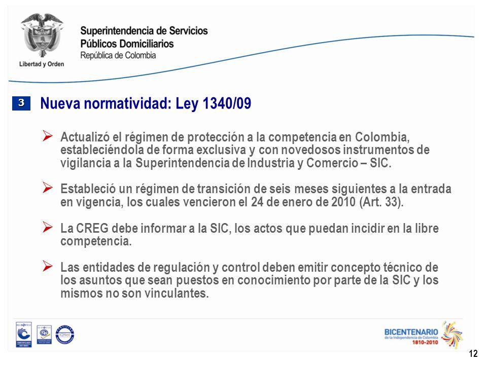 Nueva normatividad: Ley 1340/09