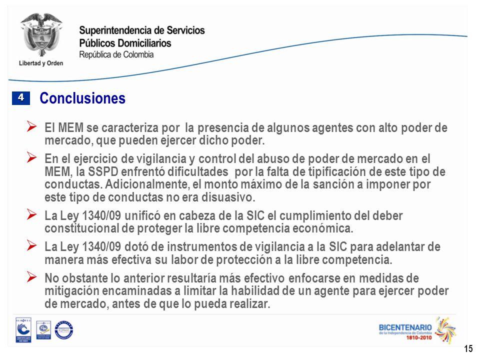Conclusiones 4. El MEM se caracteriza por la presencia de algunos agentes con alto poder de mercado, que pueden ejercer dicho poder.