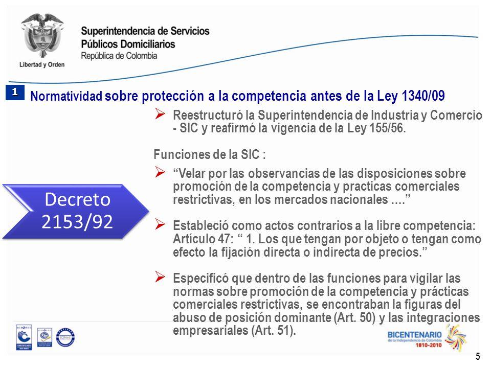 1 Normatividad sobre protección a la competencia antes de la Ley 1340/09.
