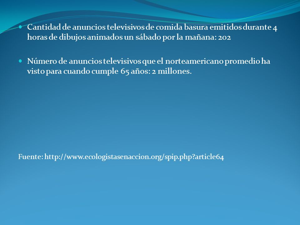 Cantidad de anuncios televisivos de comida basura emitidos durante 4 horas de dibujos animados un sábado por la mañana: 202