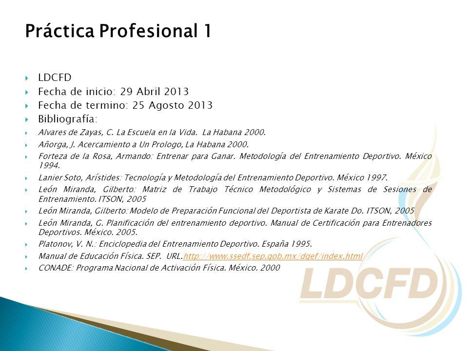 Práctica Profesional 1 LDCFD Fecha de inicio: 29 Abril 2013