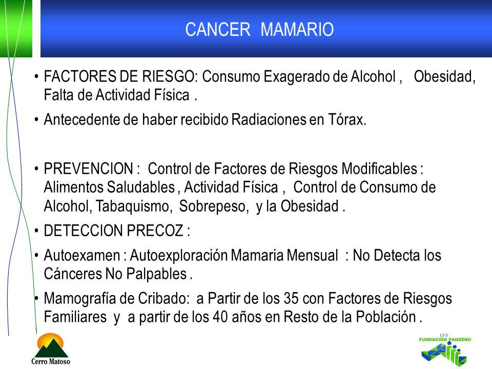 CANCER MAMARIO FACTORES DE RIESGO: Consumo Exagerado de Alcohol , Obesidad, Falta de Actividad Física .