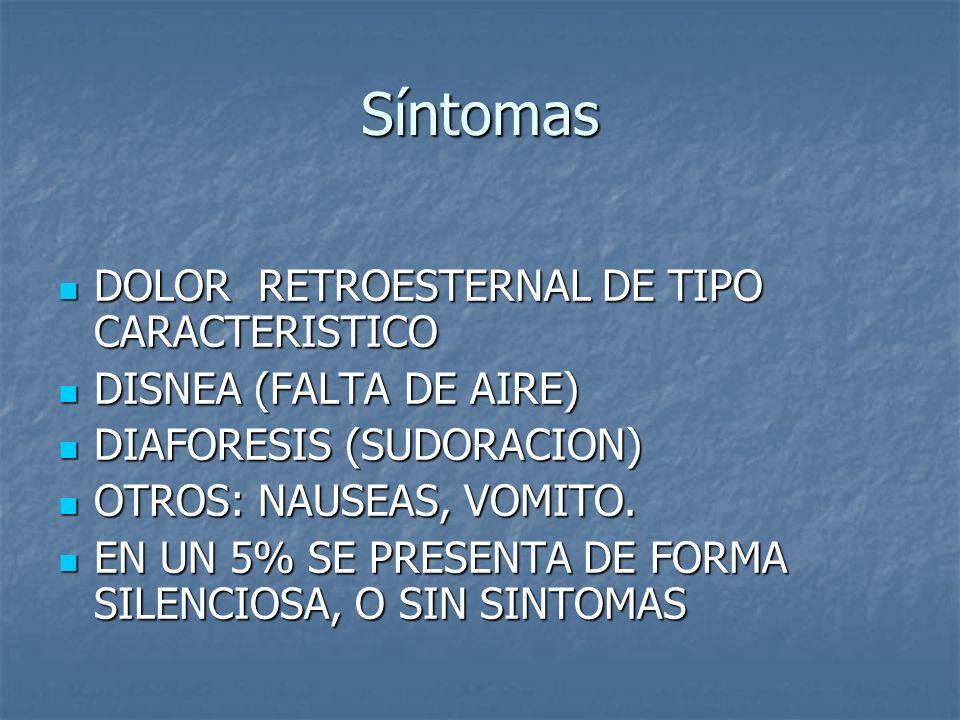 Síntomas DOLOR RETROESTERNAL DE TIPO CARACTERISTICO