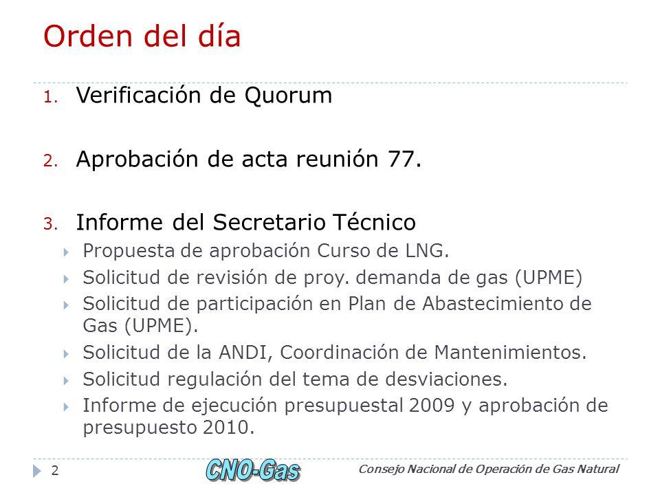 Orden del día Verificación de Quorum Aprobación de acta reunión 77.